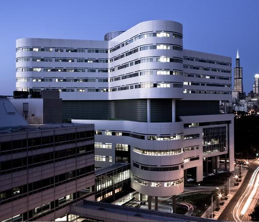 New Hospital Tower Rush University Medical Center / Perkins + Will Alucobond® PLUS Custom Spinnaker Bone White & Custom Sunstorm Rum Pewter