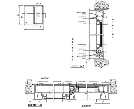 Ventana corredera s20 de veka - Detalle carpinteria aluminio ...