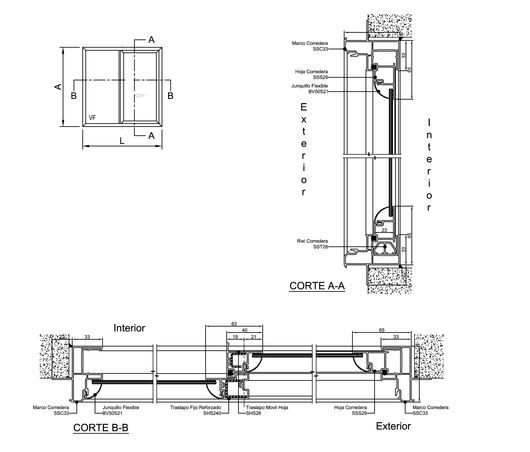 Ventana corredera s21 de veka - Detalle carpinteria aluminio ...