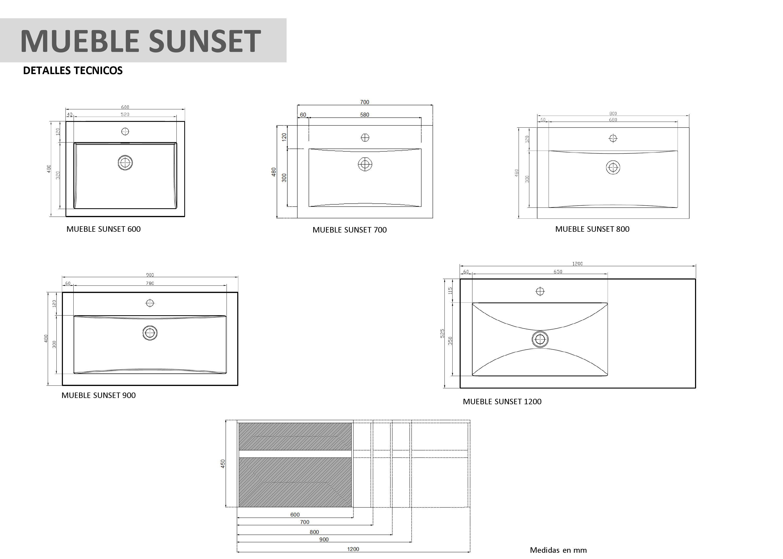 Mueble de ba o sunset de mk for Muebles para planos