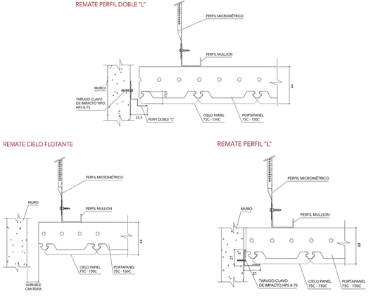 Detalles posibilidades de remate Cielo 75C/150C - Hunter Douglas