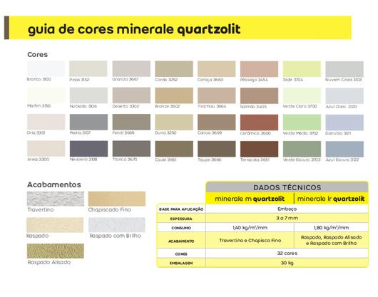 Cores e Acabamentos - Argamassa de Revestimento para Fachadas - Minerale LR e M - Weber Quartzolit