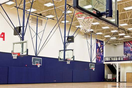 Draper Basketball Backstops in University of Arizona Jefferson Gym. Photography by Steven Meckler.