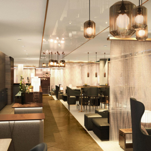 C.R. Laurence · Fabricoil™ Interior Partition System In TwoRuba Bar