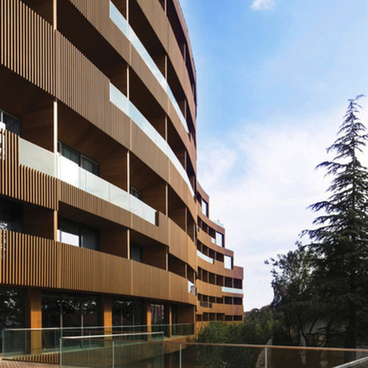 Wood Profile Façade in Tasigo Hotel / Technowood
