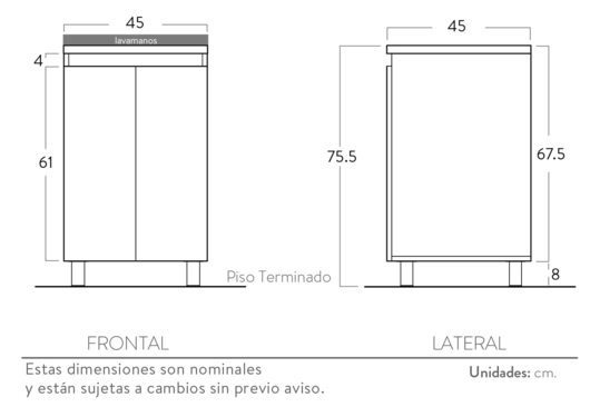 Especificaciones Mueble