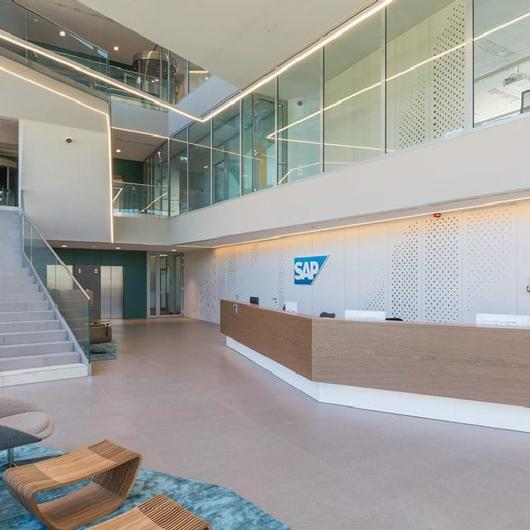Fiber Cement Cladding Panels in SAP Corporate Office / Swisspearl