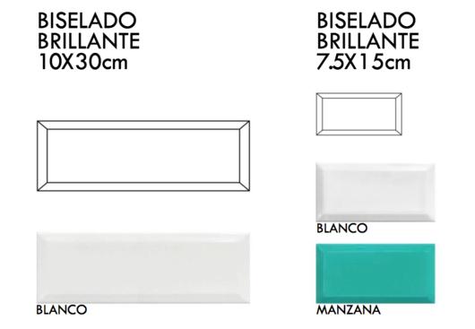 Cerámico Biselado Brillante 10x30cm y 7.5x15cm