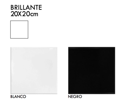 Cerámico Liso Brillante 20x20cm