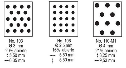 Perforaciones disponibles para bandeja inferior