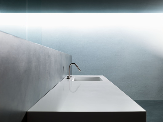 VERVE Bathroom - Side View of the Sunken Corian Countertop cut with 45° edge and Integrated Corian Sink www.minimalusa.com