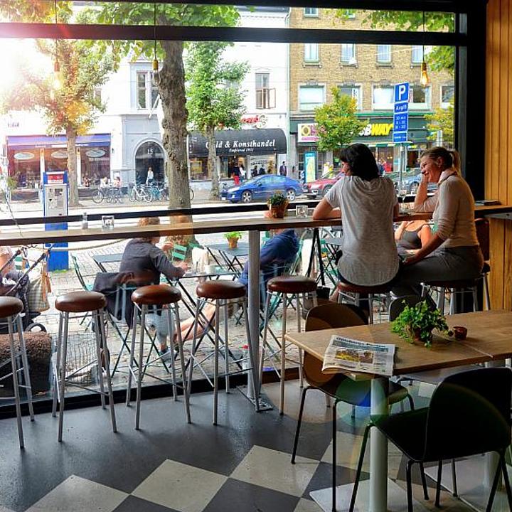 Vertical Retracting Window in Vallgatan Coffee Shop