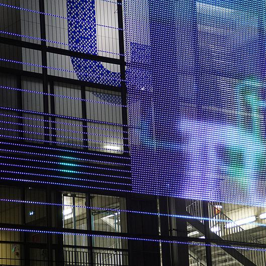 Transparent Media Façade IMAGIC WEAVE® ID / HAVER & BOECKER