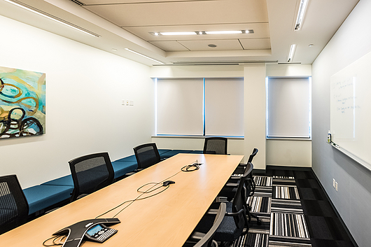 Bead Clutch-Operated FlexShade & Motorized FlexShade‑Dual Roller in Boston Scientific | Dealer: Bright Window Coverings | Architect: Margulies Perruzzi | Photographer: Alan Wycheck Photography | Fabric: Phifer Infinity 2 - 5% openness