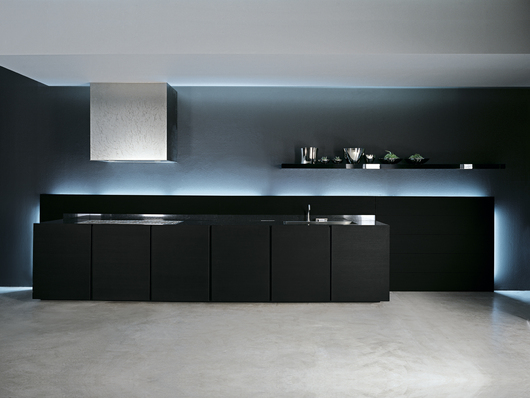 UNITS Kitchen - Black oak cabinets, black absolute granite recessed countertop and backsplash - www.minimalusa.com