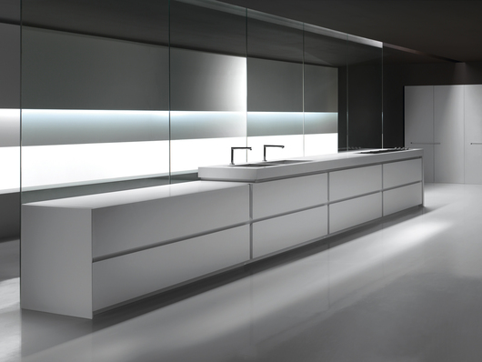 VERVE Kitchen - Matte white lacquered cabinets with 45° edges - www.minimalusa.com