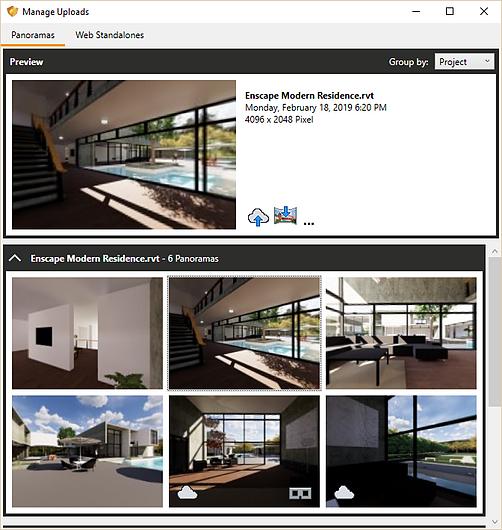 Manage Panoramas Window