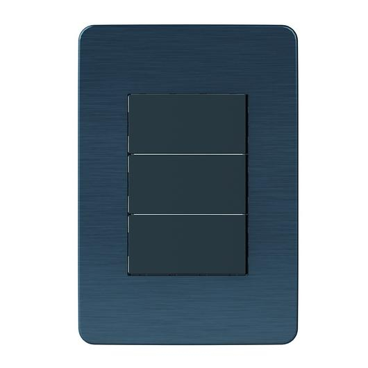 Placa 4x2 3P/ALU para interruptores e tomadas  - Galaxy Black