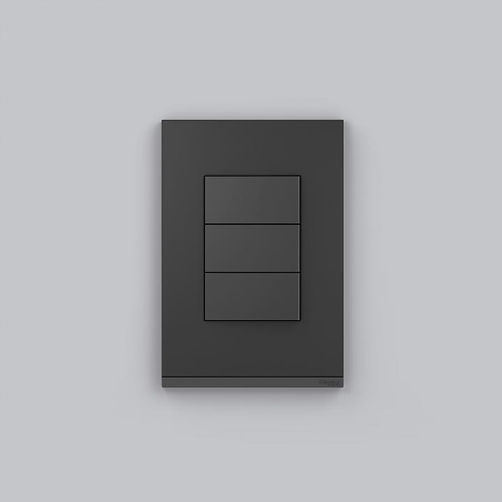 Placa 4x2 3P/ALU para interruptores e tomadas - Graphite Fenix