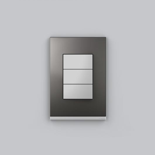 Placa 4x2 3P/ALU para interruptores e tomadas - Orion Class  Alumium /Metal grey