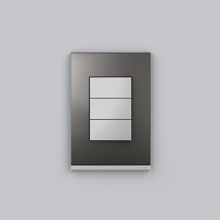 Placa 4x2 3P/ALU para interruptores e tomadas - Grey Metal