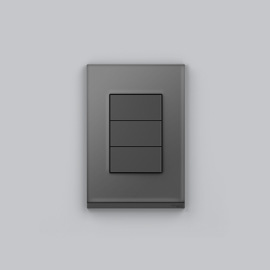 Placa 4x2 3P/ALU para interruptores e tomadas - Dark Glass Graphite / Schneider Electric