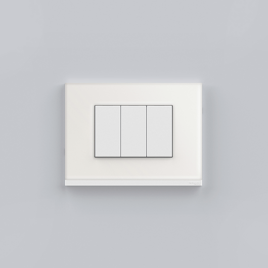 Placa 4x2 3P/ALU para interruptores e tomadas - White Glass