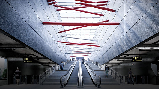 Escalator design showing shadows, Sky Light and other effects in Lumion 9 Pro