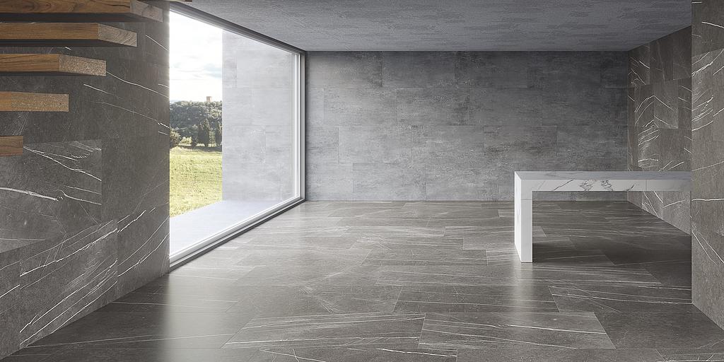 Porcelánico estilo piedra - Colección Piasentina Grisos