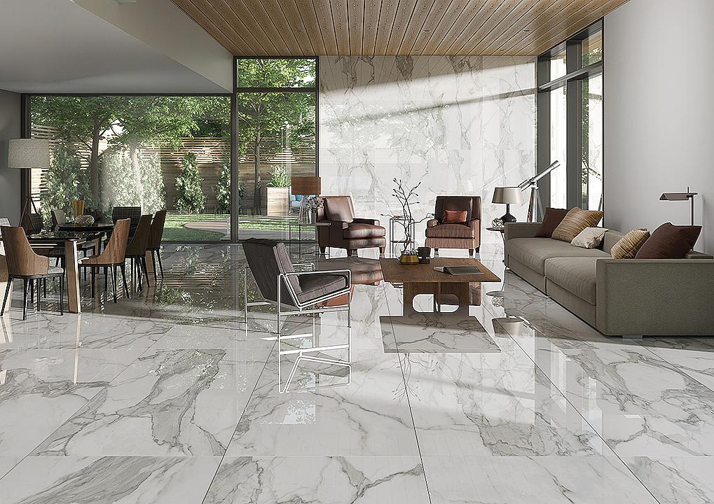 Revestimientos estilo mármol blanco