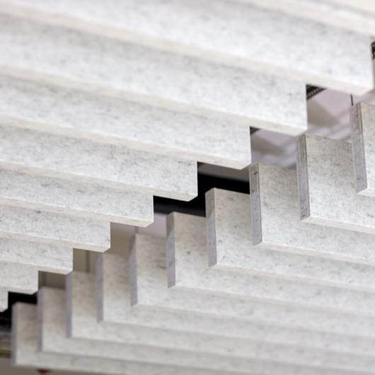 Acoustic Ceilings – HeartFelt® Baffle Ceiling System