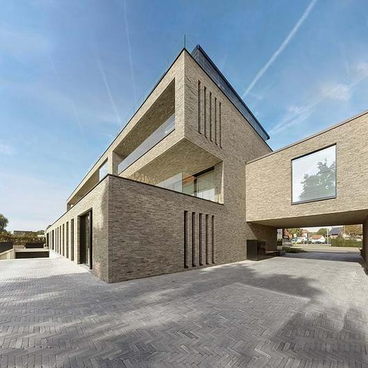 Face Brick in Modern Apartment Building / Vande Moortel