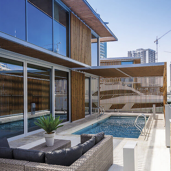 Lunawood Thermowood Façade in Marasi Water Homes in Dubai