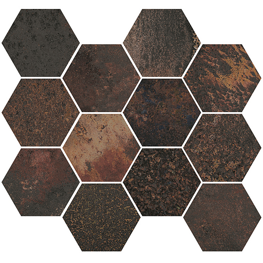 Corten Graphite Mosaic Hexagon