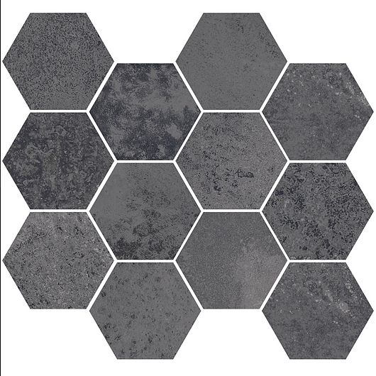 Corten Iron Mosaic Hexagon