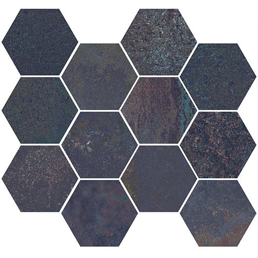 Corten Saphire Mosaic Hexagon