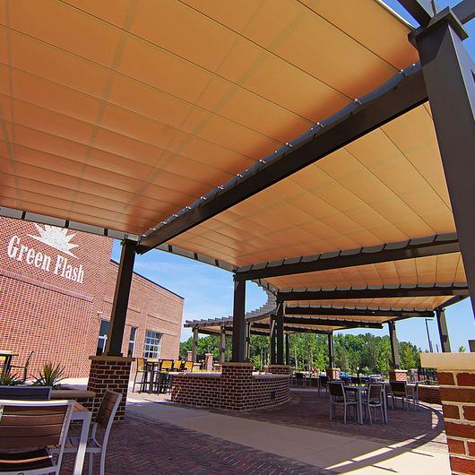 Circular Retractable Canopies at Green Flash Brewing Co. / ShadeFX