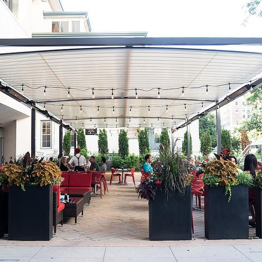 Retractable Canopies, Custom Structure - RED Madison / ShadeFX