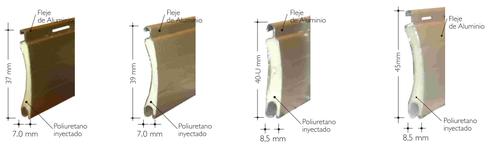 lámina curva rellena de poliuretano que actúa como aislante termoacústico