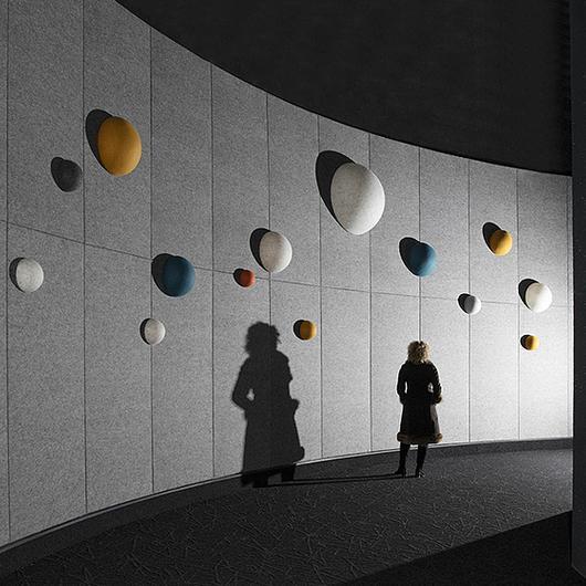 Semi-esferas de lana para la absorción del sonido