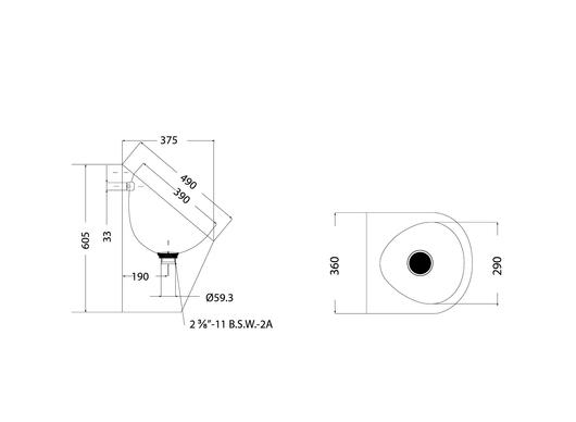 Medidas del Urinario Mural STAHL - CHC