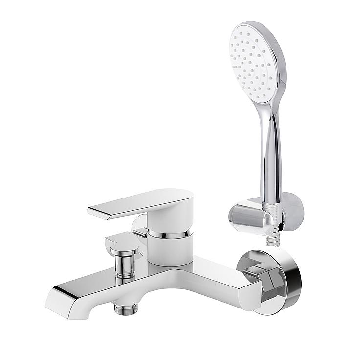 Grifería para tina ducha - blanco y cromo