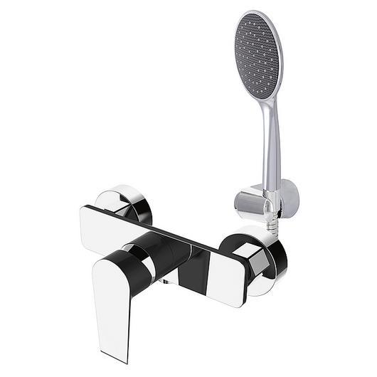 Grifería monomando ducha receptáculo - negra y cromo