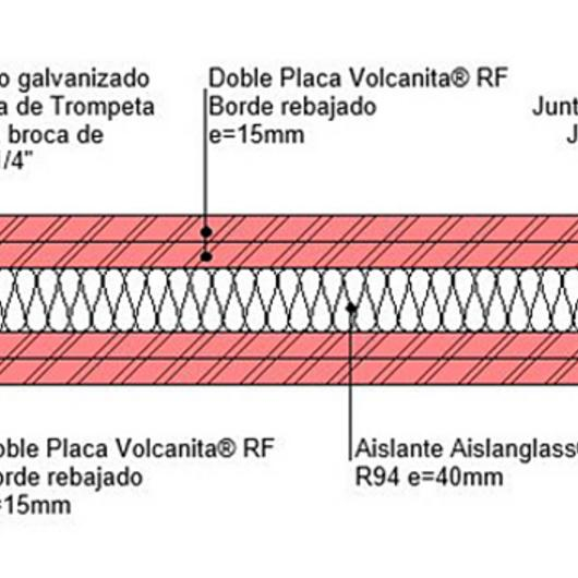 Tabique F120 seco seco en BIM / Volcan