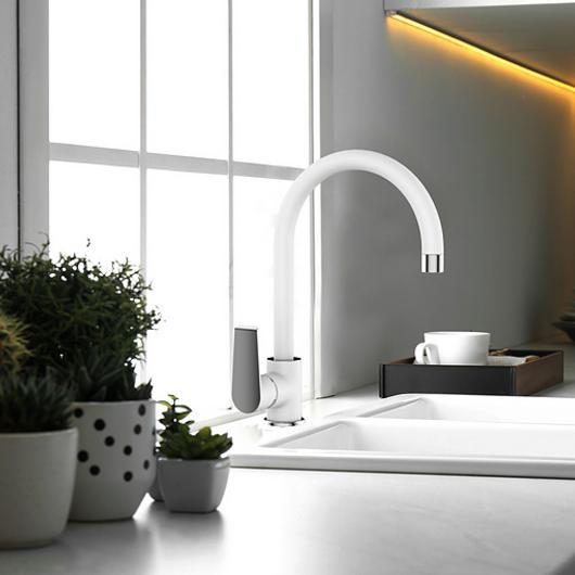 Grifería monomando lavaplatos - blanco y cromo
