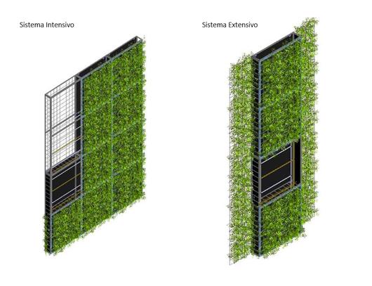 Jardines verticales intensivos y extensivos canevaflor de for Muros y fachadas verdes jardines verticales