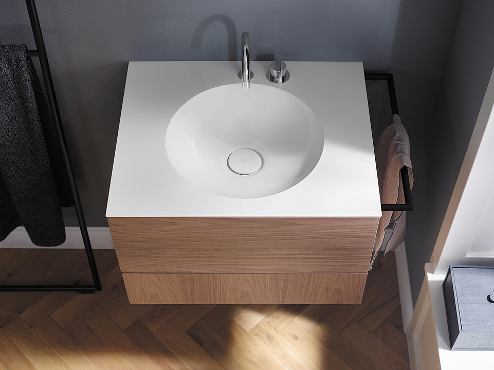 Mineral-Cast Washbasin and Vanity - Coco