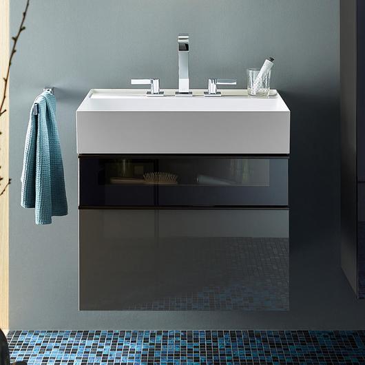 Mineral-Cast Washbasin and Vanity - Yumo / burgbad