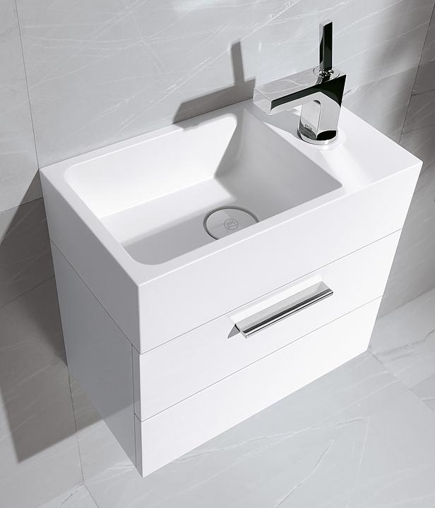 Mineral-Cast Washbasin and Vanity - Crono