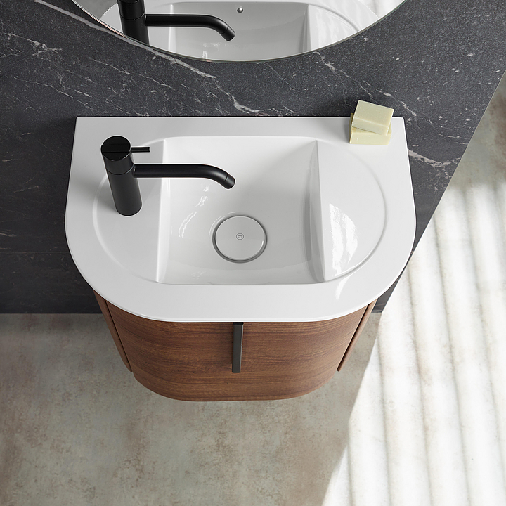 Mineral-Cast Washbasin and Vanity - Lavo 2.0